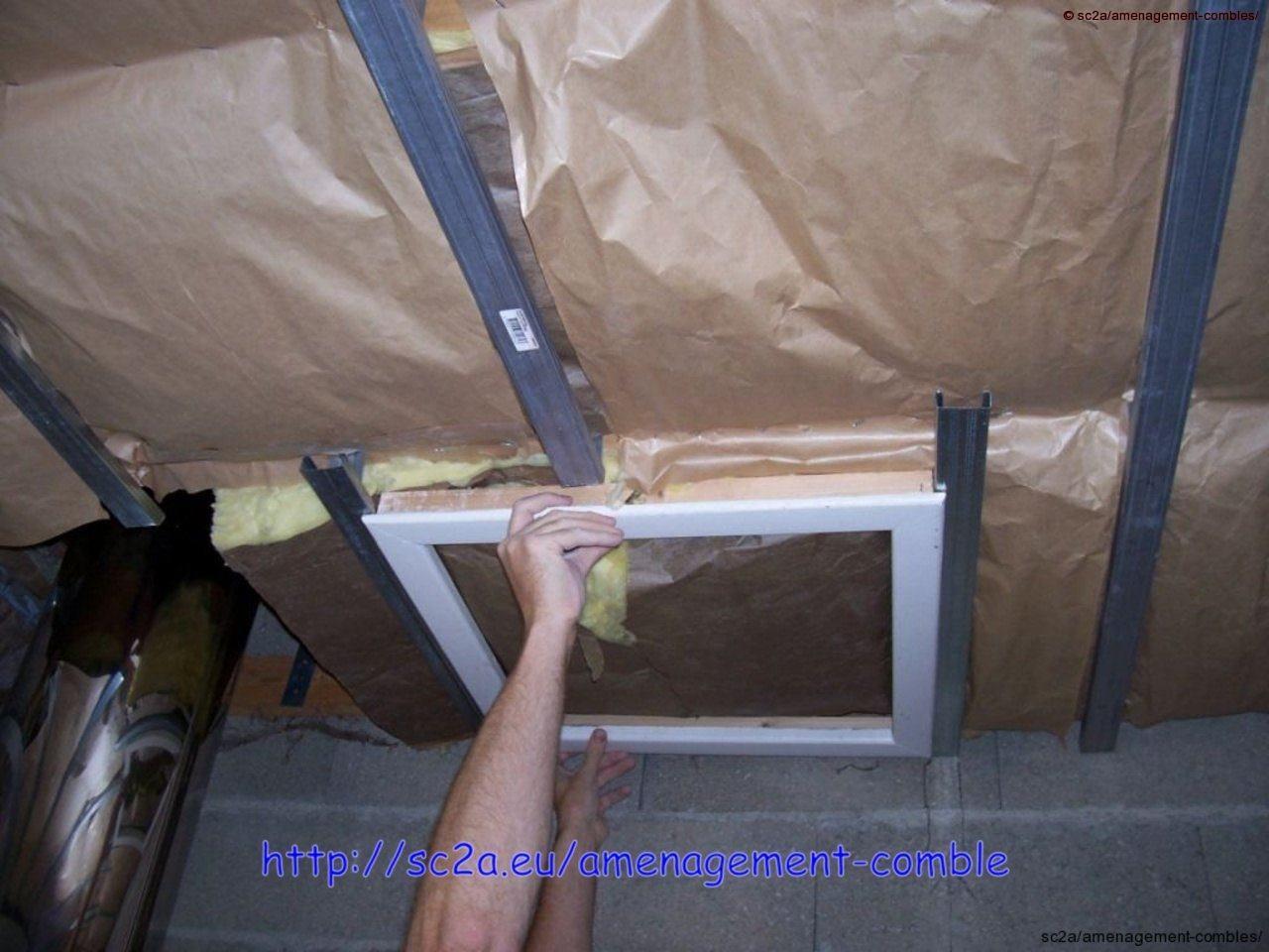 mise en place provisoire de la trappe d\'accès sur les rails placo