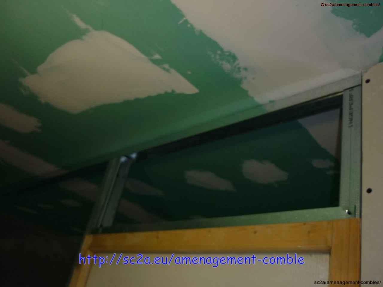 fixation rails cloisons placo au plafond des combles 4