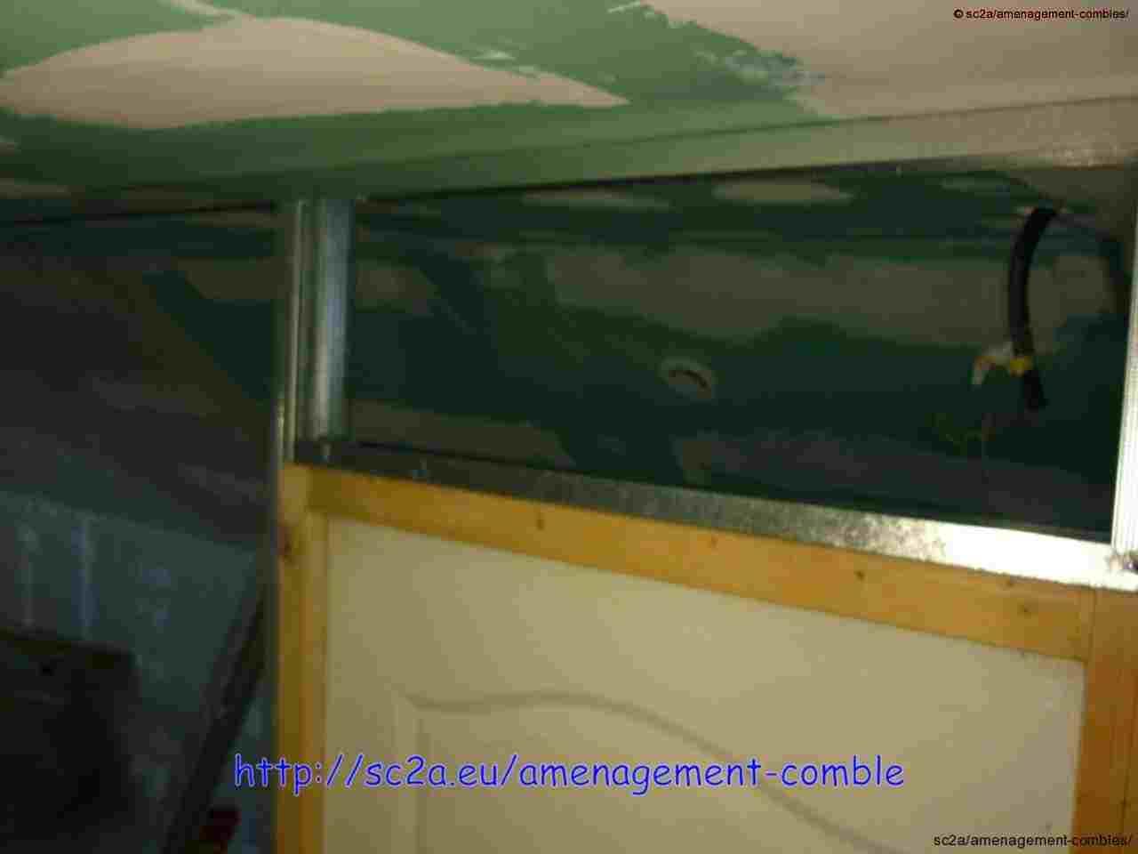 fixation rails cloisons placo au plafond des combles 6