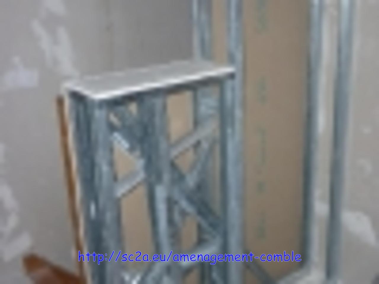 pose rail montant placoplatre - montée escalier 1