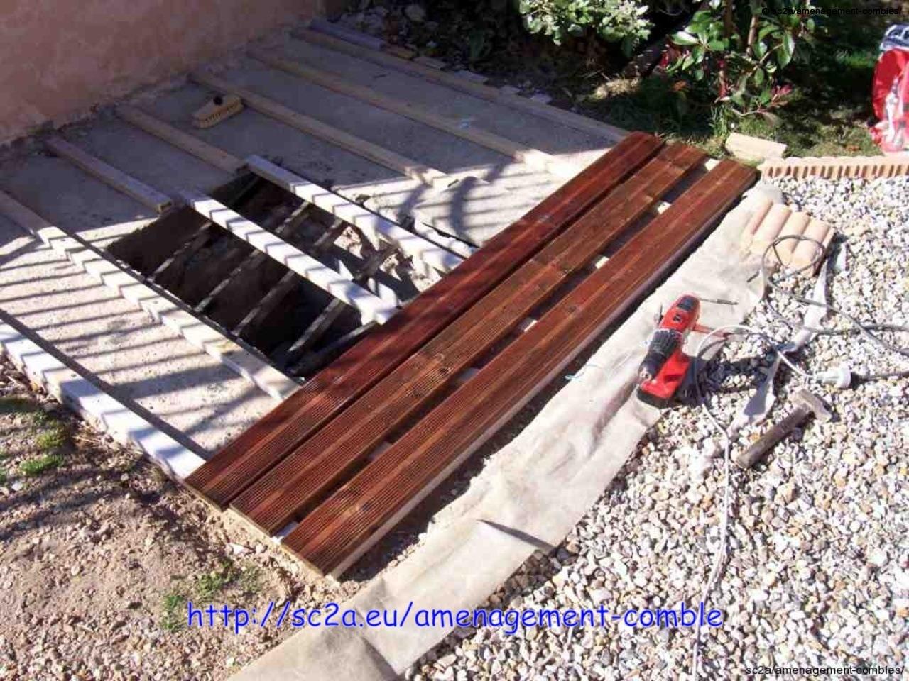 Pose  lames pin autoclave sur les lambourdes