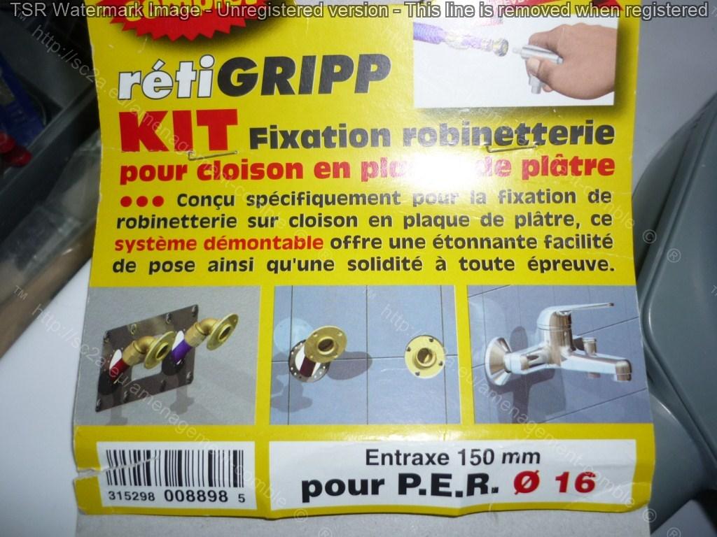 kit fixation retigripp mitigeur sur placo avec tuyaux PER douche italienne