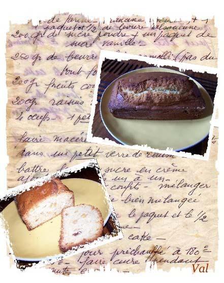Cake aux fruits confits et raisins